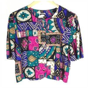 80s Vintage Button Up Crop Shirt Jacket